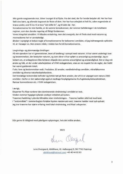 19.10.2009, Lene Overgaard: Indsigelse Akt nr. 41, flora, kronvildt, støj, vandstand, trækfugle mm