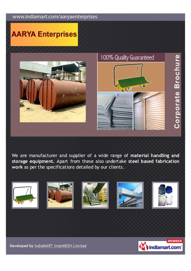 We are manufacturer and supplier of a wide range of material handling andstorage equipment. Apart from these also undertak...