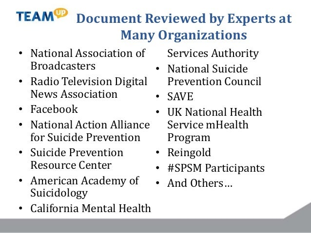 Guidelines Cover… • Social media strategy • Content considerations – Mental health – Suicide prevention • Language and ima...