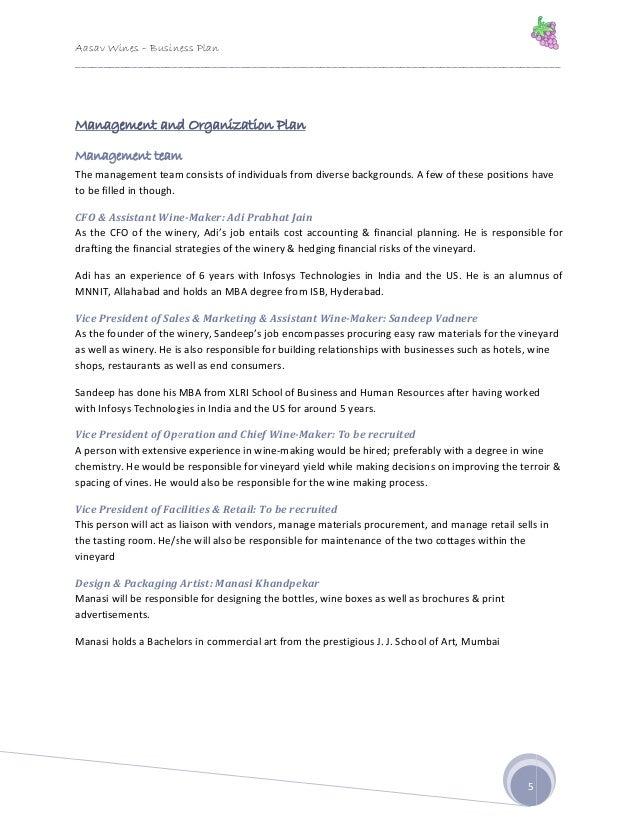aasav wines business plan winery entrepreneurship 2009