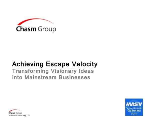 Achieving Escape Velocity Transforming Visionary Ideas into Mainstream Businesses  © 2014 The Chasm Group, LLC