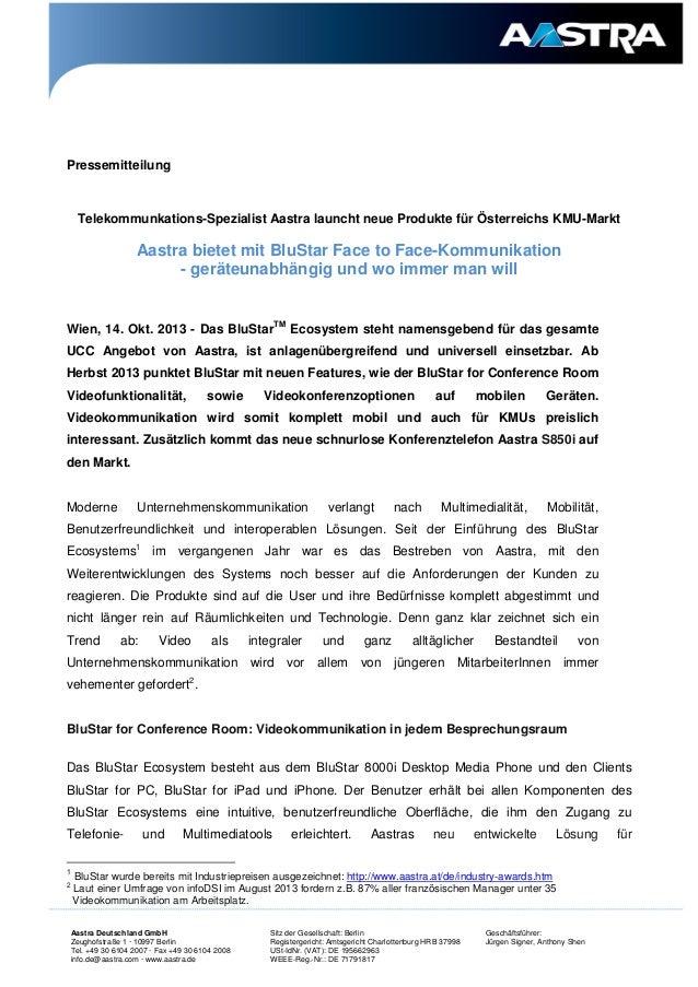 Pressemitteilung  Telekommunkations-Spezialist Aastra launcht neue Produkte für Österreichs KMU-Markt  Aastra bietet mit B...