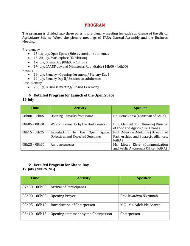 PROGRAM The program is divided into three parts: a pre-plenary meeting for each sub-theme of the Africa Agriculture Scienc...