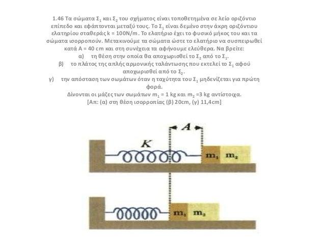 1.46 Τα ςώματα Σ1 και Σ2 του ςχιματοσ είναι τοποκετθμζνα ςε λείο οριηόντιο επίπεδο και εφάπτονται μεταξφ τουσ. Το Σ1 είναι...