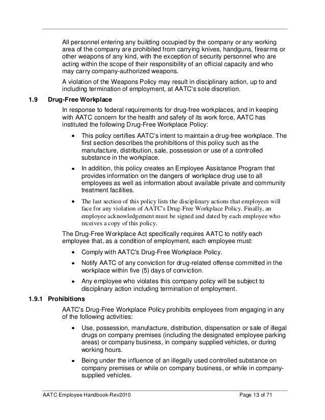 Aatc Employee Handbook Final - Employee handbook acknowledgement form template