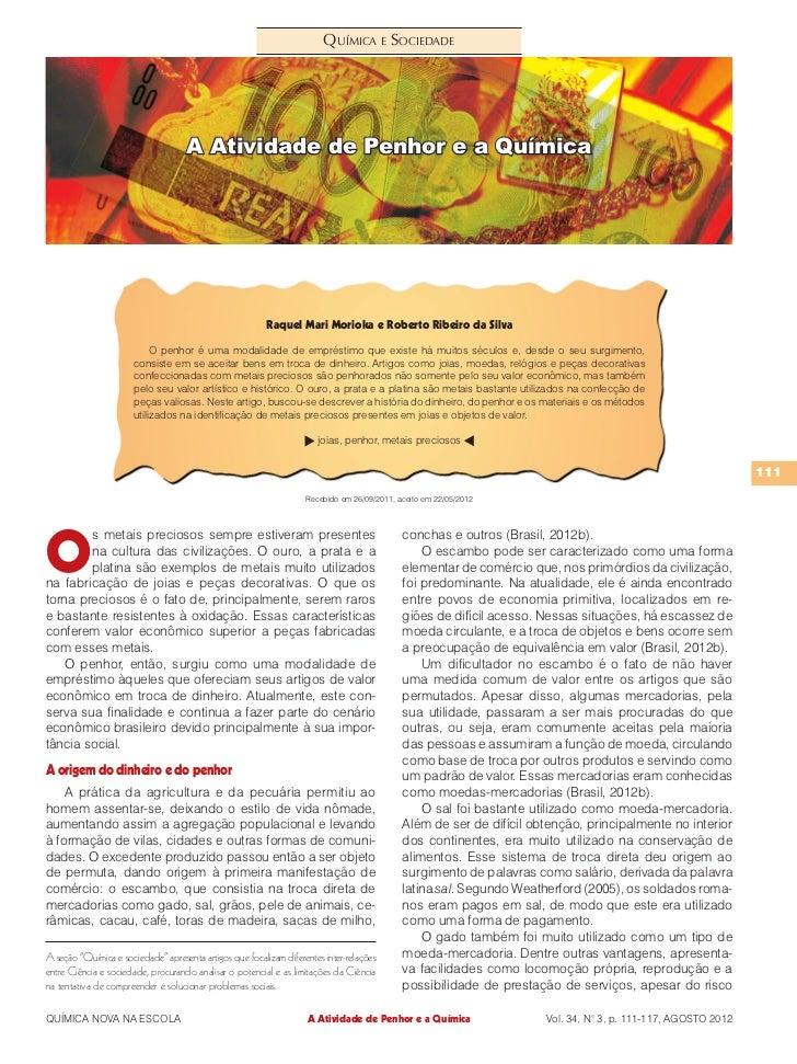 Química e Sociedade                                     A Atividade de Penhor e a Química                                 ...