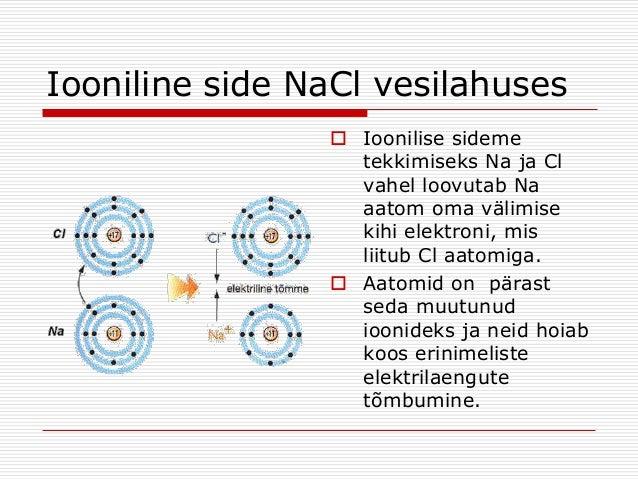 Iooniline side NaCl vesilahuses  Ioonilise sideme tekkimiseks Na ja Cl vahel loovutab Na aatom oma välimise kihi elektron...