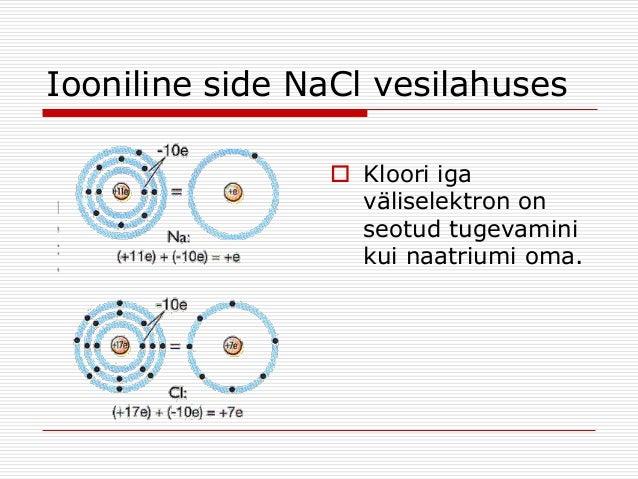 Iooniline side NaCl vesilahuses  Kloori iga väliselektron on seotud tugevamini kui naatriumi oma.