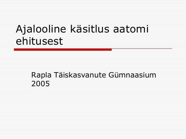 Ajalooline käsitlus aatomi ehitusest Rapla Täiskasvanute Gümnaasium 2005