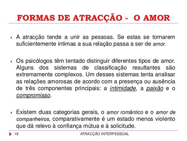 FORMAS DE ATRACÇÃO - O AMOR ATRACÇÃO INTERPESSOAL18  A atracção tende a unir as pessoas. Se estas se tornarem suficientem...