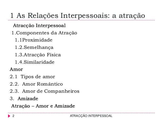 1 As Relações Interpessoais: a atração ATRACÇÃO INTERPESSOAL2 Atracção Interpessoal 1.Componentes da Atração 1.1Proximidad...