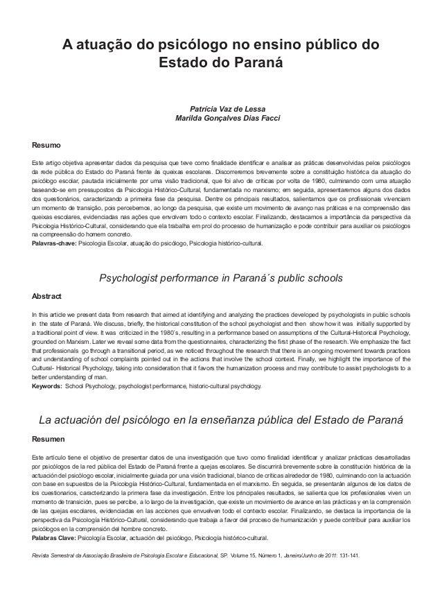 131Revista Semestral da Associação Brasileira de Psicologia Escolar e Educacional, SP. Volume 15, Número 1, Janeiro/Junho ...