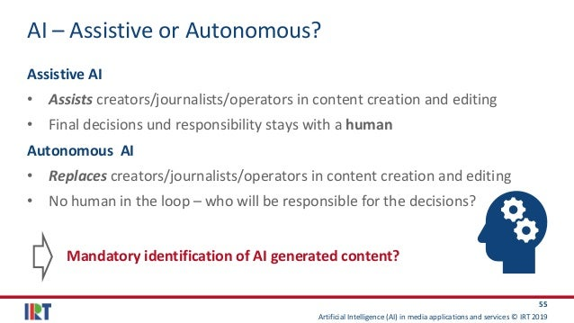 Artificial Intelligence (AI) in media applications and services