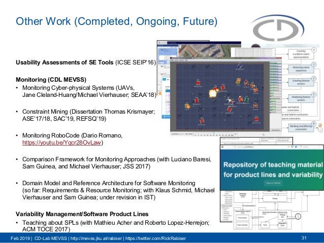 Feb 2019 | CD-Lab MEVSS | http://mevss.jku.at/rabiser | https://twitter.com/RickRabiser Other Work (Completed, Ongoing, Fu...