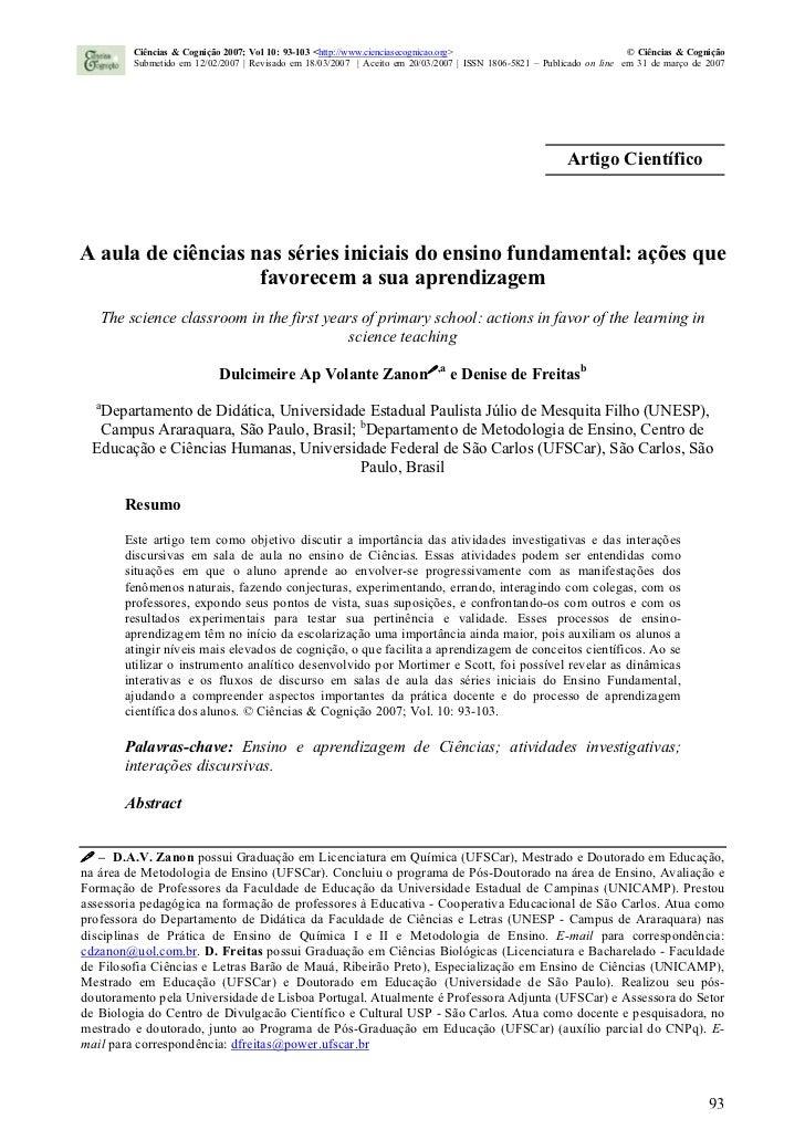 Ciências & Cognição 2007; Vol 10: 93-103 <http://www.cienciasecognicao.org>                                   © Ciências &...