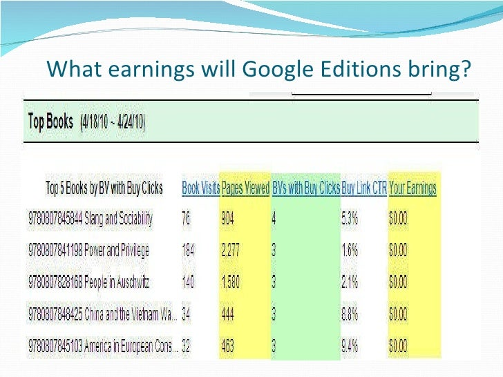 What earnings will Google Editions bring?