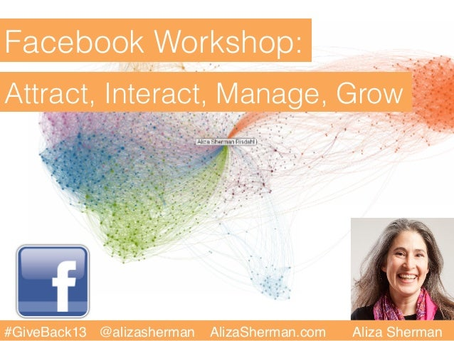 Facebook Workshop:Attract, Interact, Manage, Grow#GiveBack13 @alizasherman   AlizaSherman.com   Aliza Sherman!