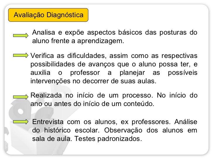 Avaliação Diagnóstica     Analisa e expõe aspectos básicos das posturas do     aluno frente a aprendizagem.     Verifica a...