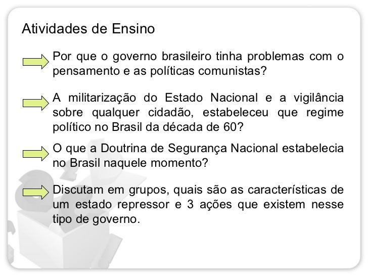 Atividades de Ensino    Por que o governo brasileiro tinha problemas com o    pensamento e as políticas comunistas?    A m...
