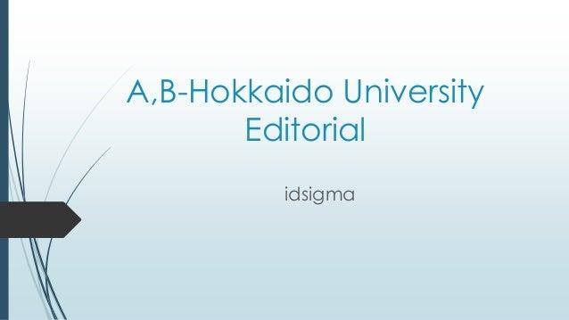 A,B-Hokkaido University Editorial idsigma