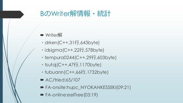 BのWriter解情報・統計  Writer解 ・drken(C++,31行,643byte) ・idsigma(C++,22行,578byte) ・tempura0244(C++,29行,603byte) ・tsutaj(C++,47行,1...