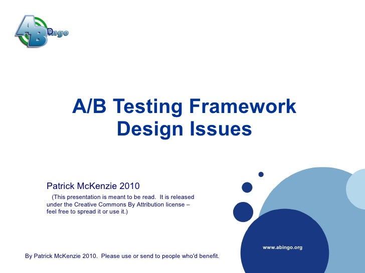 Company      D  LOGO                      A/B Testing Framework                      Design Issues          Patrick McKenz...