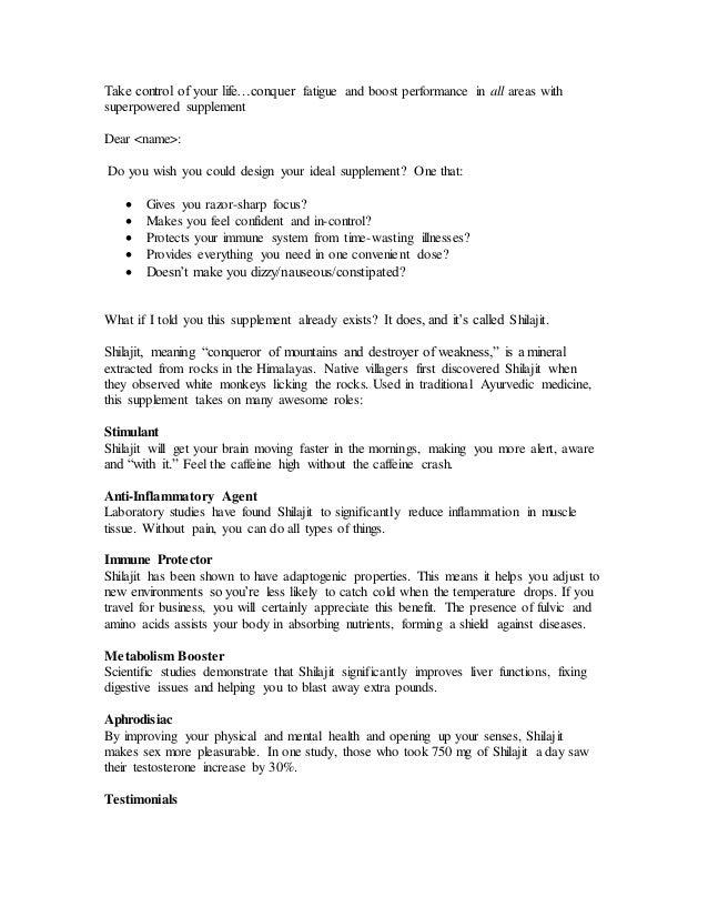 Sales Letter Shilagit