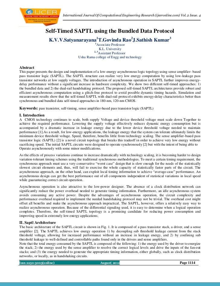 International Journal Of Computational Engineering Research (ijceronline.com) Vol. 2 Issue. 4                  Self-Timed ...