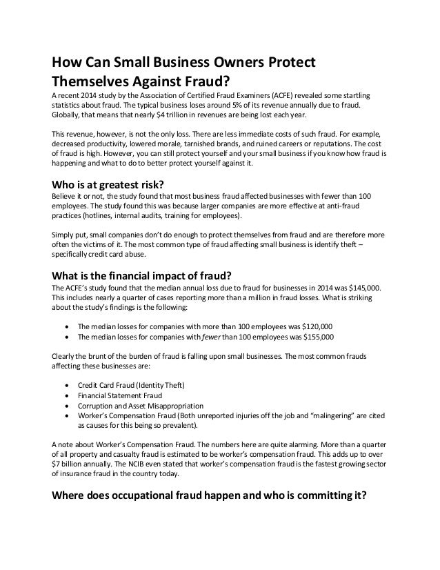 How Can Small Business Owners Protect Themselves Against Fraud