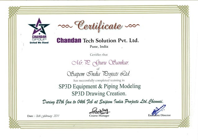 SP3D Training Certificate