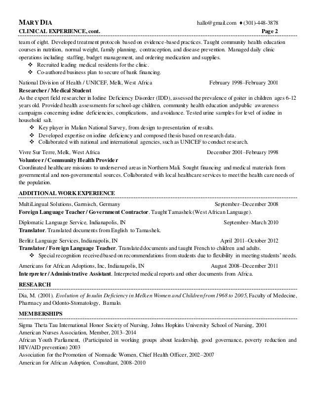 Supervised A Multidisciplinary; 2.  Health Educator Resume