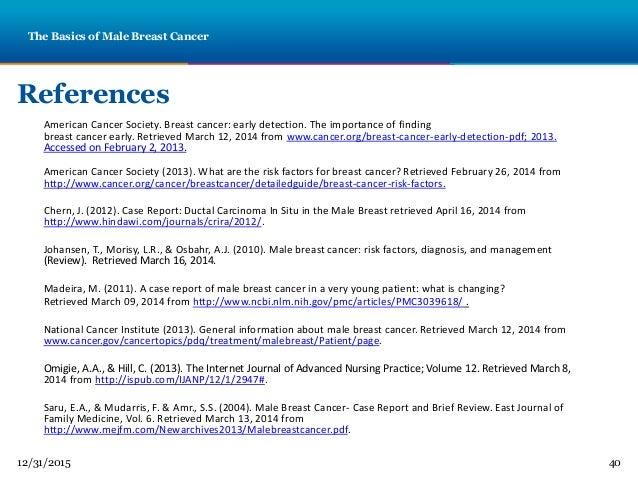 Tara powerpoint male breast cancer 40 12312015 40 references american cancer society toneelgroepblik Choice Image