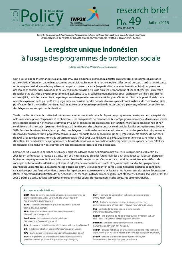 Juillet/2015no. 49 research brief Le Centre International de Politiques pour la Croissance Inclusive est financé conjointe...