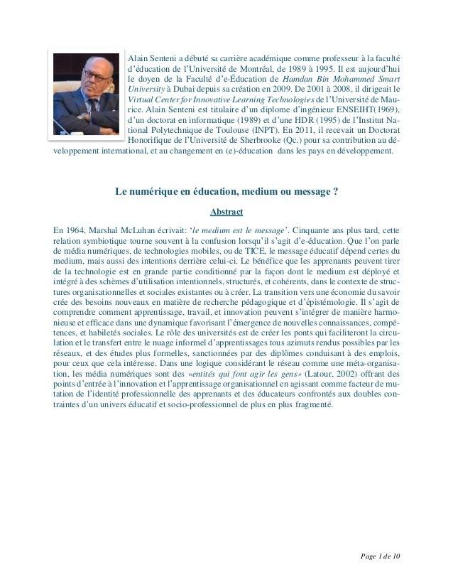 Page 1 de 10 Alain Senteni a débuté sa carrière académique comme professeur à la faculté d'éducation de l'Université de Mo...
