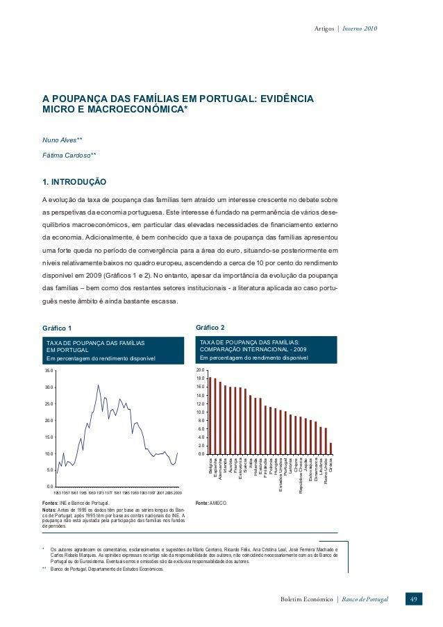 Artigos | Inverno 2010  A POUPANÇA DAS FAMÍLIAS EM PORTUGAL: EVIDÊNCIA  MICRO E MACROECONÓMICA*  Nuno Alves**  Fátima Card...