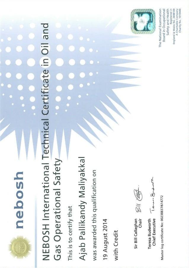 NEBOSH International Oil And Gas Certificate