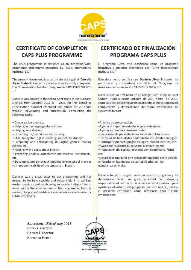 Caps Certification Of Completion