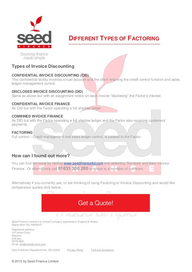 Seed finance a guide to factoring ebook for Confidential invoice factoring