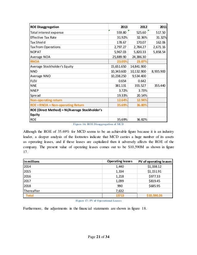 mcdonalds financial analysis 2016