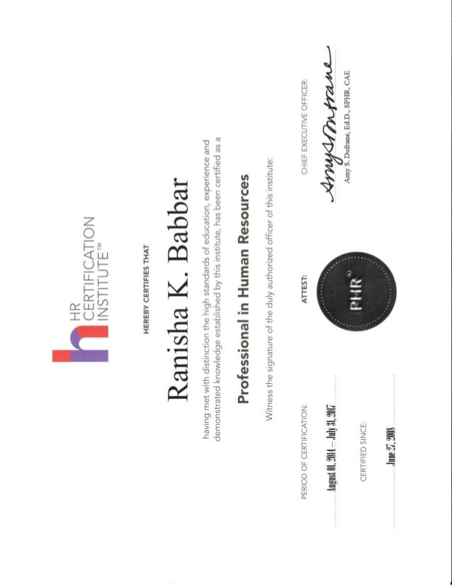 Phr Certificate 2015