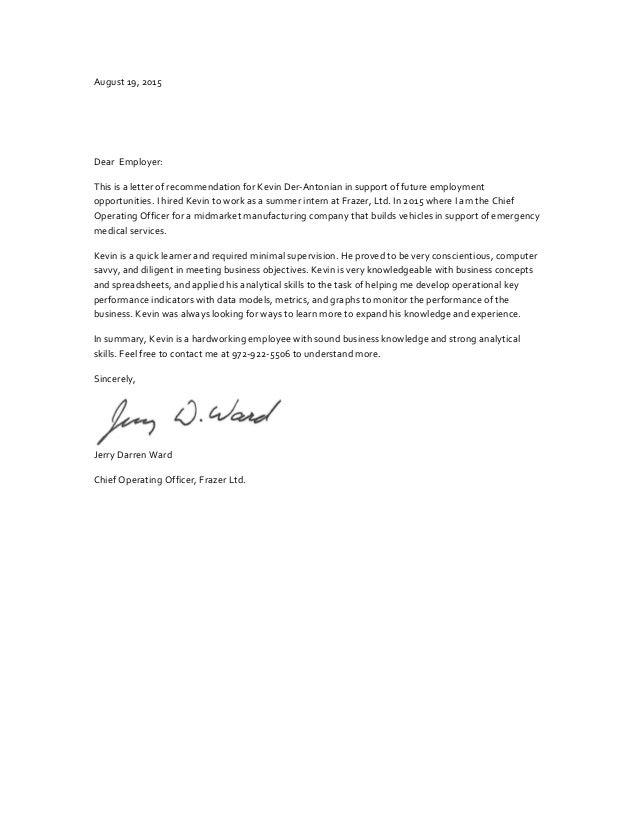 dear employer letter
