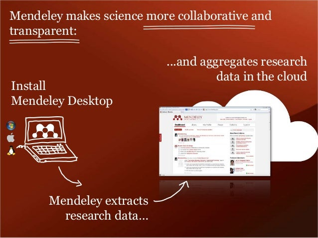 Mendeley makes science more collaborative and  transparent:  ...and aggregates research  data in the cloud  Install  Mende...