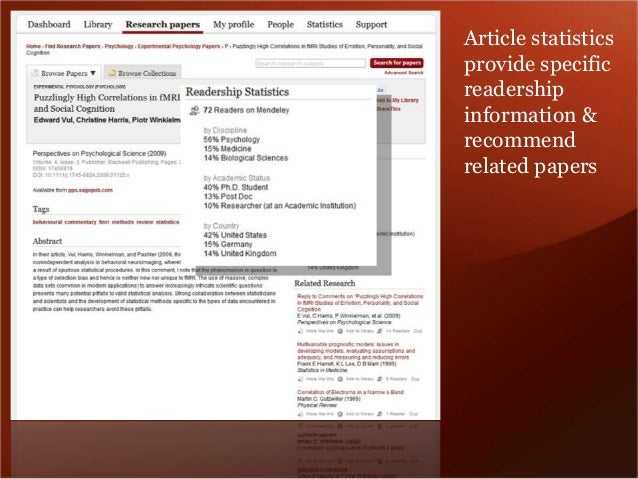 Article statistics  provide specific  readership  information &  recommend  related papers