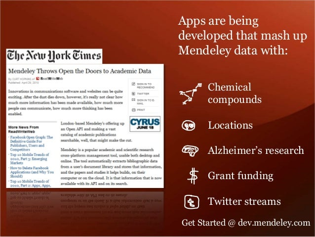 Apps are being  developed that mash up  Mendeley data with:  Chemical  compounds  Locations  Alzheimer's research  Grant f...