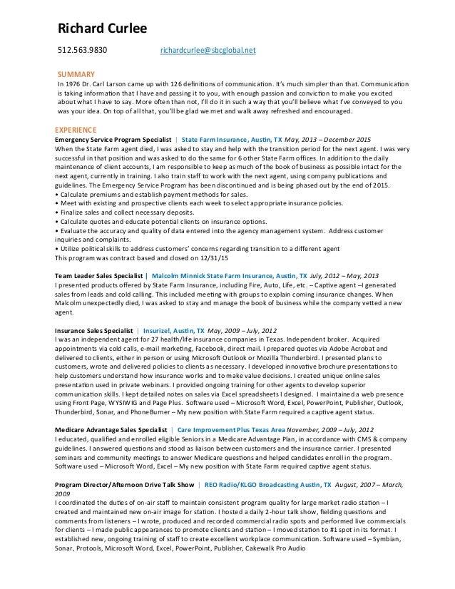 Resume Rbc  Richard Curlee  Richardcurleesbcglobal Net Summary In  Dr Carl