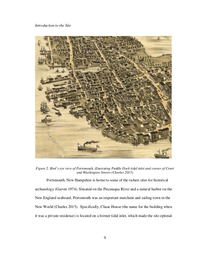 9 Introduction to the Site Figure 2. Bird's eye view of Portsmouth, illustrating Puddle Dock tidal inlet and corner of Cou...