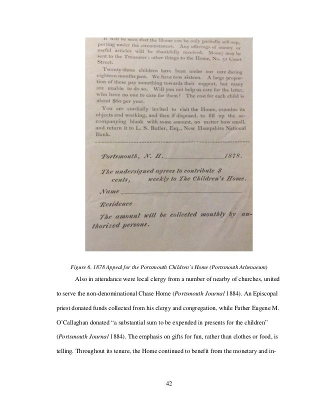 42 Figure 6. 1878 Appeal for the Portsmouth Children's Home (Portsmouth Athenaeum) Also in attendance were local clergy fr...