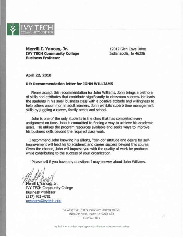 Ivy Tech Letter Of Recommendation.Pdf