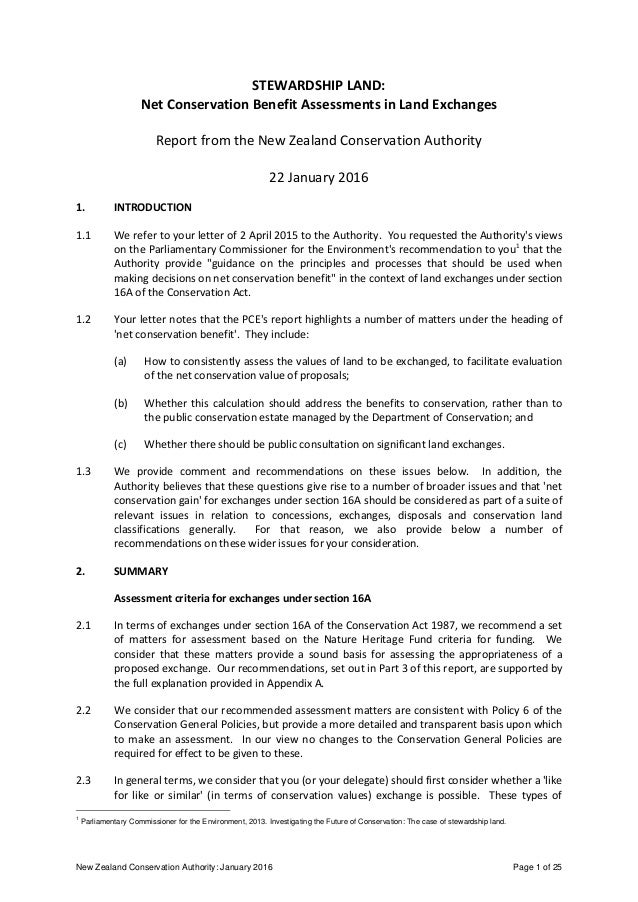 New Zealand Conservation Authority: January 2016 Page 1 of 25 STEWARDSHIP LAND: Net Conservation Benefit Assessments in La...