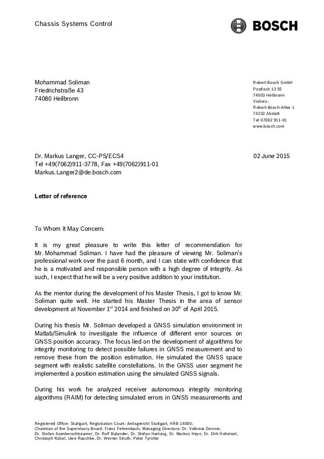 Bosch Reference Letter